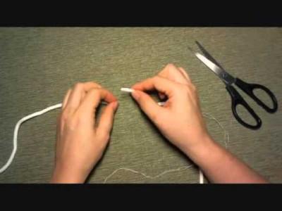 Соединение концов полиэфирного шнура при вязании, вариант 1