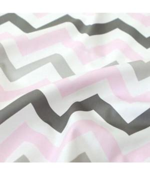 Ткань хлопок Зигзаг серый/розовый