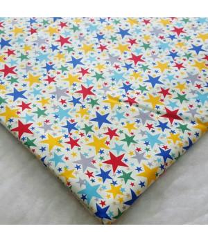 Ткань хлопок Звезды разных цветов