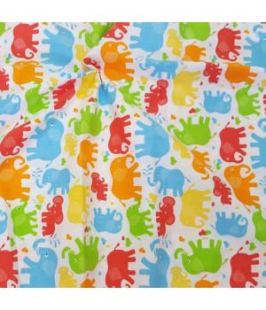 Ткань хлопок Слоники разноцветные
