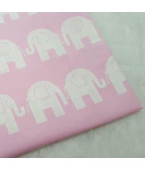 Ткань хлопок Слоники на розовом