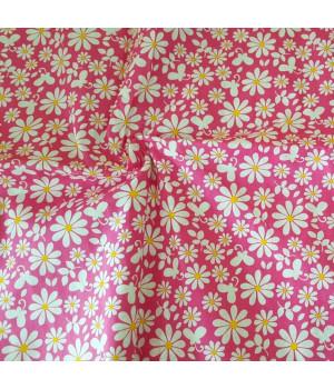 Ткань хлопок Ромашки на розовом