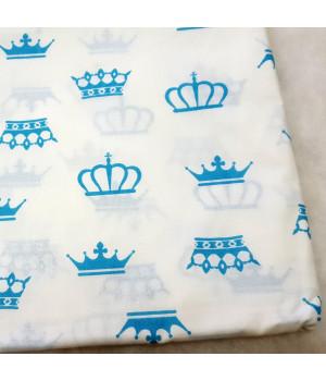 Ткань хлопок Короны голубые на белом
