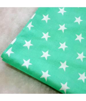 Ткань хлопок Звезды белые на мятном