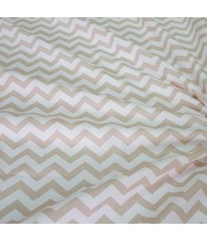 Ткань хлопок Зигзаг светло-коричневый на белом