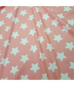 Ткань хлопок Звезды на розовом