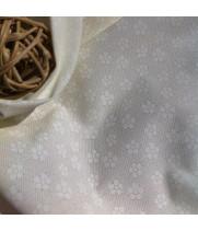 Ткань хлопок Цветочки круглые белые на молочном фоне