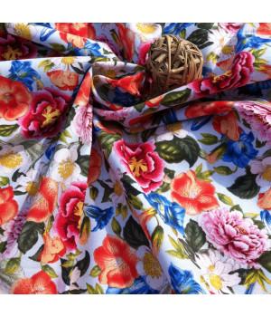 Ткань хлопок Садовые цветы на голубом фоне