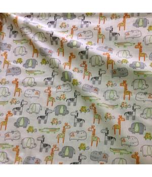 Ткань хлопок Животные зоопарка