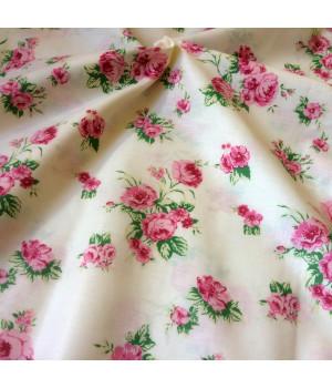 Ткань хлопок Розы на бежевом