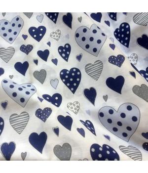 Ткань хлопок Сердца синие на белом