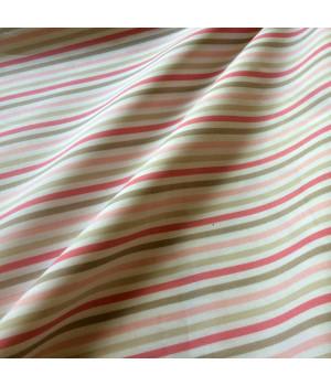 Ткань хлопок Полосы зелёные и розовые