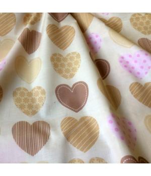 Ткань хлопок Сердца коричневые на молочном