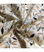 Ткань хлопок Веточки с листьями на молочном фоне