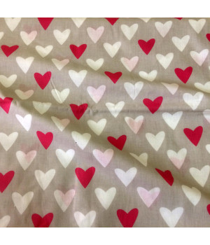 Ткань хлопок Сердца розовые/белые на сером