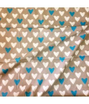 Ткань хлопок Сердца голубые/белые на сером