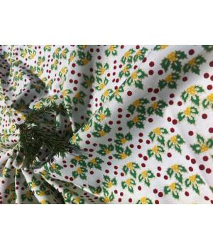 Ткань хлопок Листья зеленые на белом