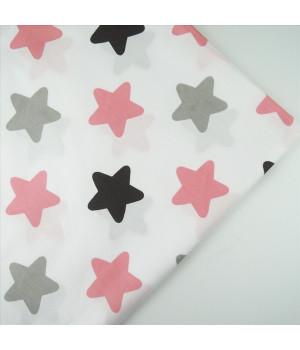 Ткань хлопок Звезды розовые, серые на белом