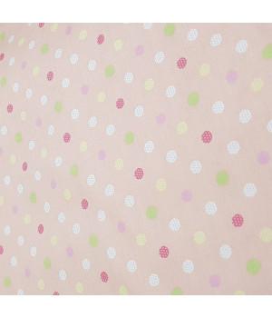 Ткань хлопок Горошек мелкий разноцветный на персиковом