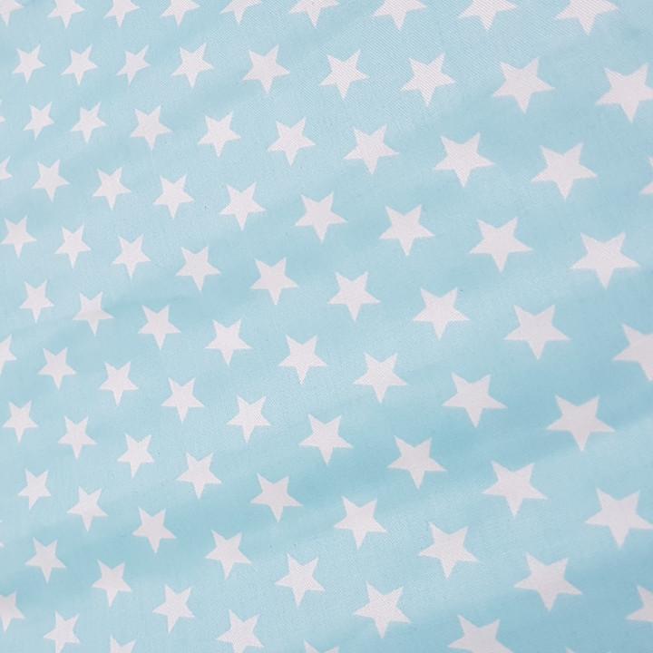 Ткань хлопок Звезды белые мелкие на голубом