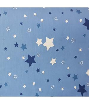 Ткань хлопок Звезды синие и белые на голубом