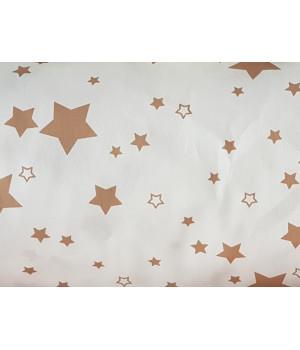 Ткань хлопок Звезды коричневые на белом