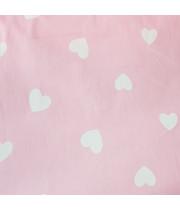 Ткань хлопок Сердечки белые на розовом фоне