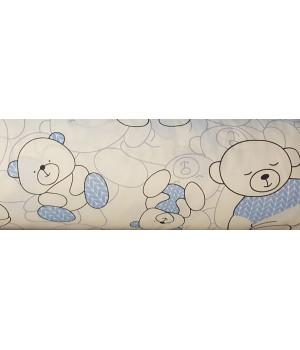 Ткань хлопок Мишки голубые на белом фоне