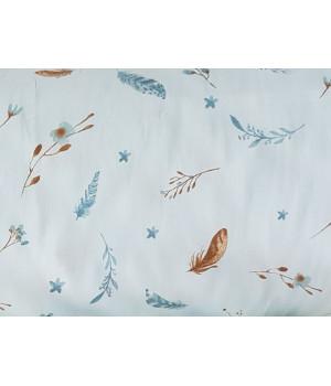 Ткань хлопок Цветы хлопка на нежно-голубом фоне