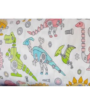 Ткань хлопок Динозавры игрушечные на белом фоне