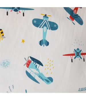 Ткань хлопок Самолеты голубые на белом фоне
