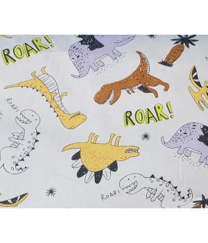 Ткань хлопок Динозавры оранжевые, коричневые, сиреневые на сером фоне