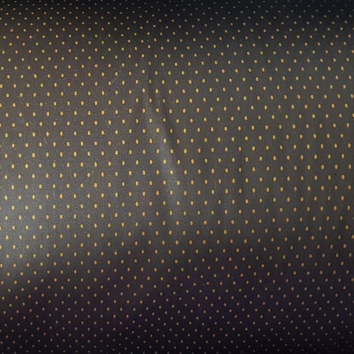 Ткань хлопок Горошек желтый на темно-коричневом фоне