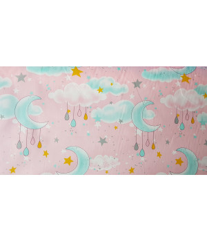 Ткань хлопок Облака, луна, звезды на розовом фоне