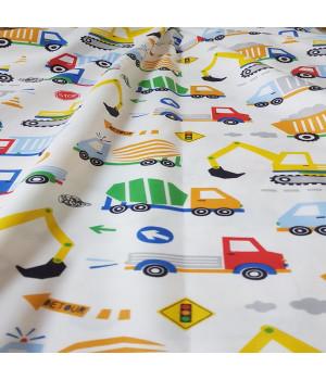 Ткань хлопок Машинки разноцветные на белом