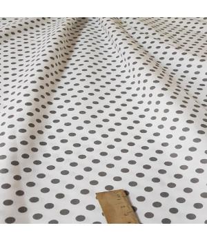 Ткань хлопок Горошек серый на белом 5 мм