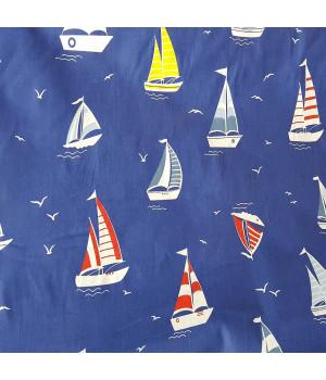 Ткань хлопок Парусники на синем фоне